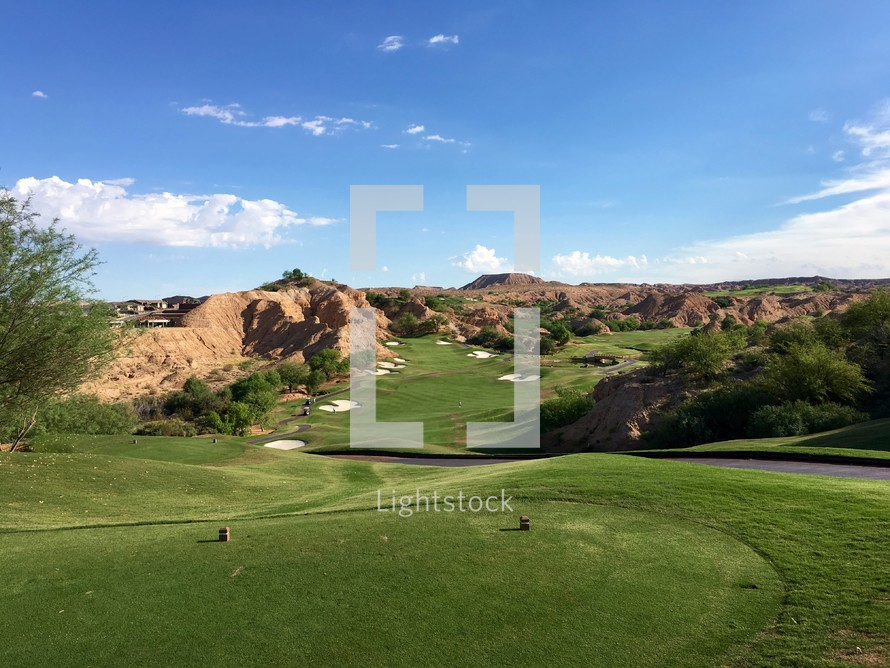 green golf course on a mountaintop in Mesquite, Nevada