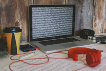 winter, blog, headphones, iPad, Holy Bible, laptop, journal, coffee cup, pine boughs, sheet music, photo editing, camera, lens