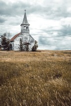 old abandoned church in a prairie