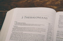Bible opened to 2 Thessalonians