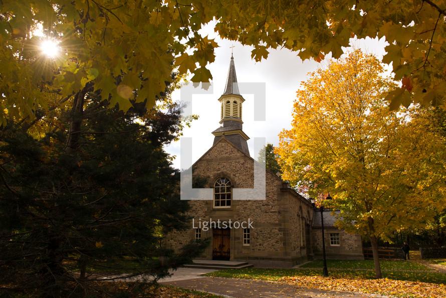 stone church in fall