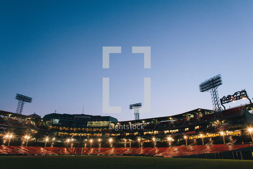 stadium lights in a baseball stadium