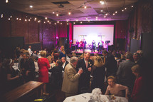 a band entertaining at a wedding reception
