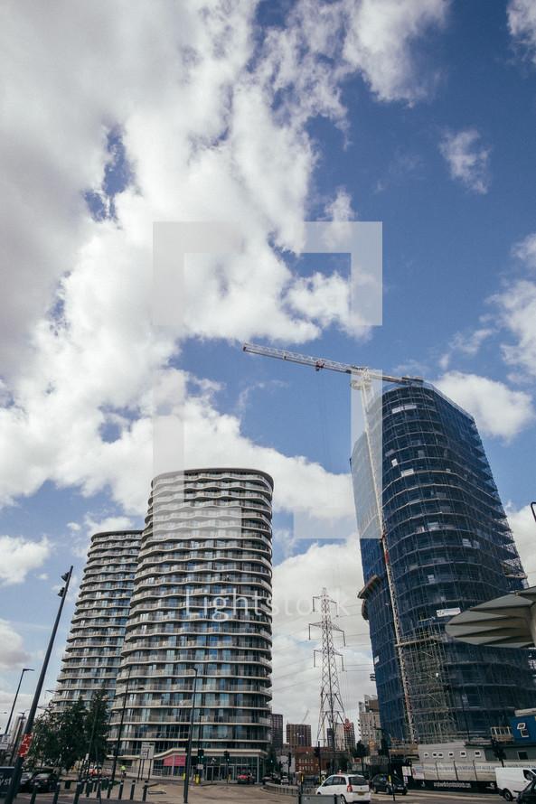 construction cranes in London