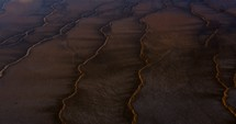 aerial view over a rugged landscape