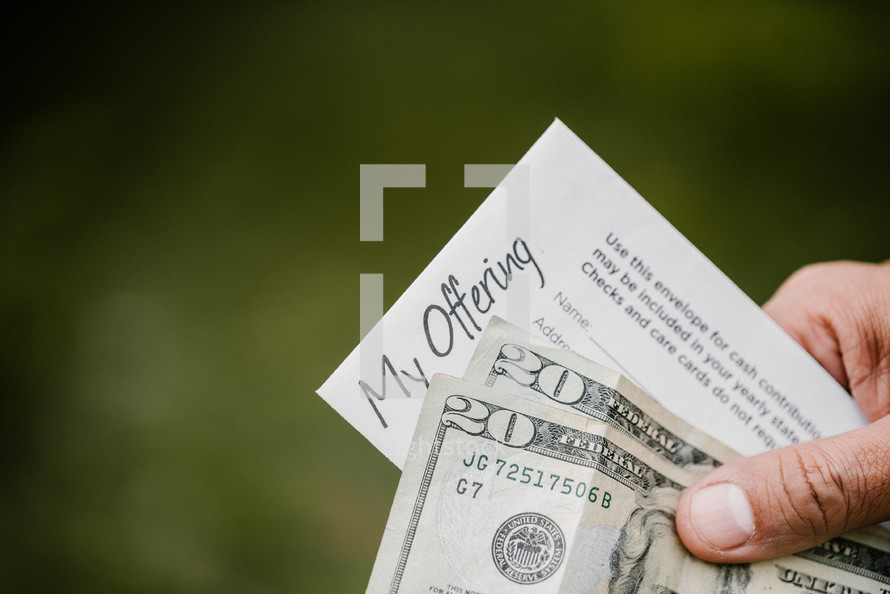 offering envelope and forty dollars cash