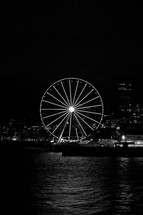 seaside ferris wheel at night