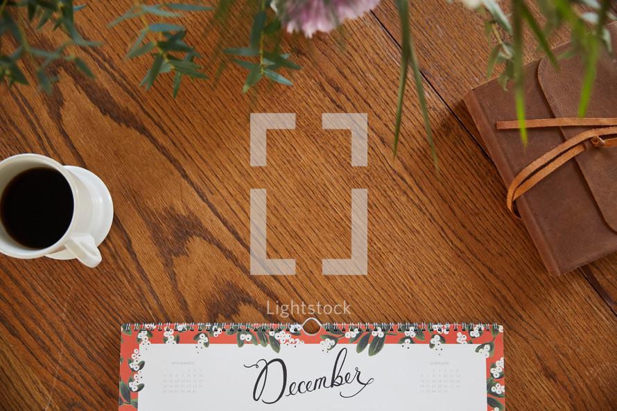 December calendar on a desk