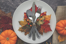 silverware on a plate with fall leaves place setting