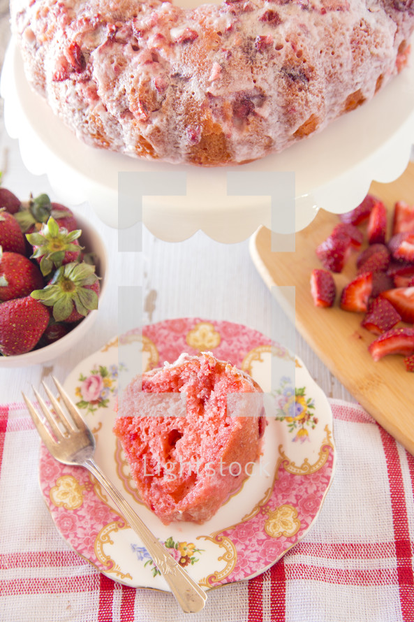 Glazed Strawberry Bunt Cake