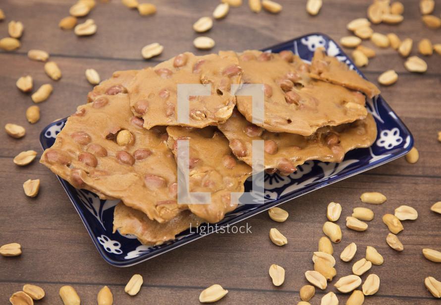 peanut brittle in a pan
