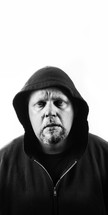 Homeless, needy man wearing black hoodie on white background.