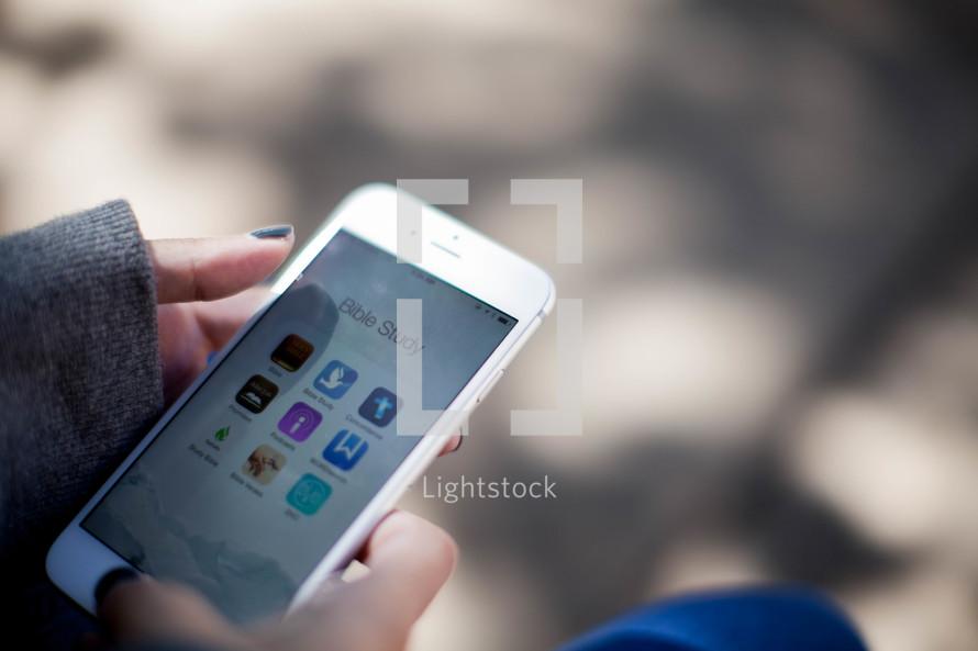 Bible Study App on a cellphone
