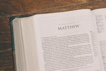 Bible opened to Matthew
