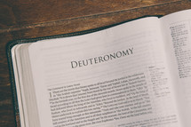 Bible opened to Deuteronomy