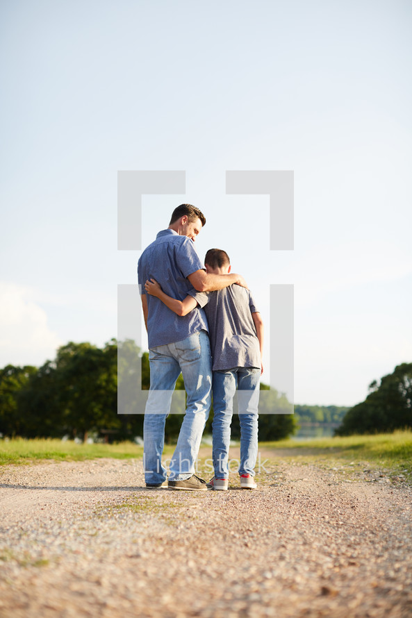 a father and son together outdoors