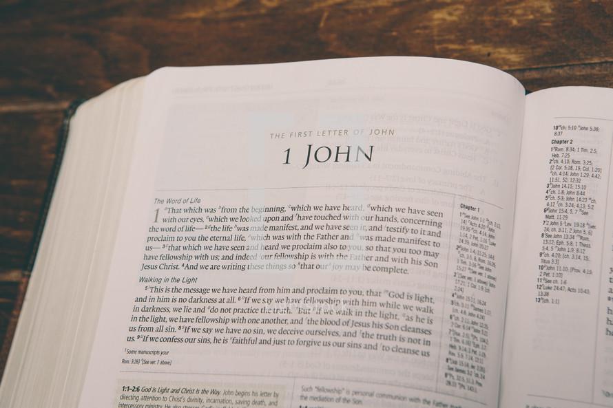 Bible opened to 1 John