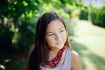 brunette girl child outdoors