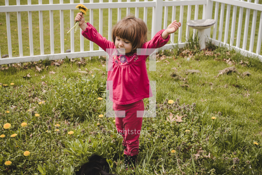 toddler girl picking flowers