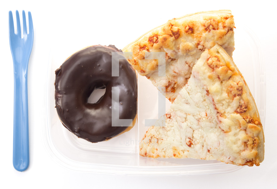pizza and donuts packed lunch