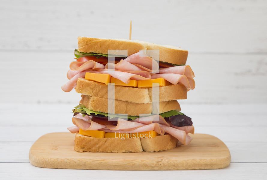 stacked ham sandwich