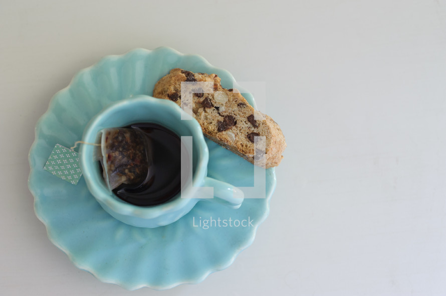 tea cup and biscotti