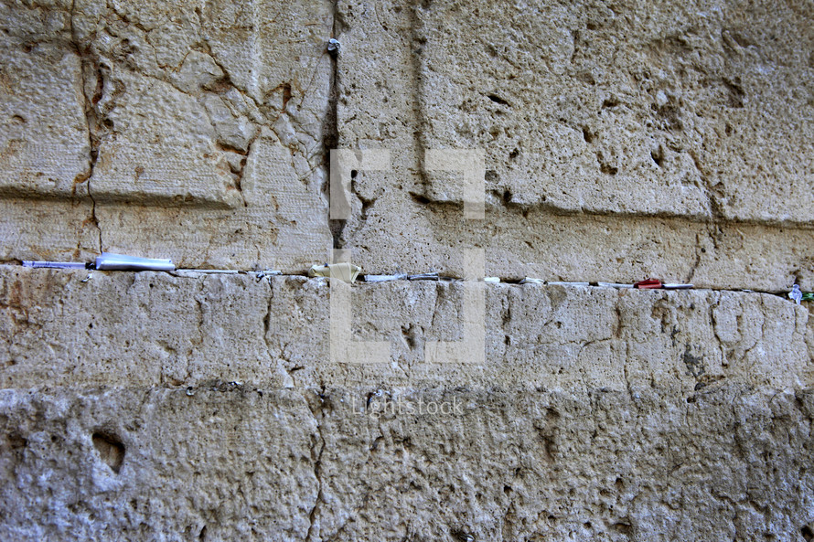 Notes in the Western Wall in the Holy Land