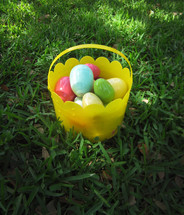 Easter egos in a bucket.