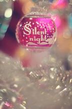 Silent Night, Christmas ornament on a Christmas tree