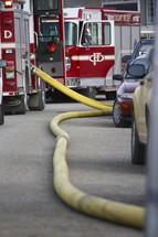 firetrucks and fire hose