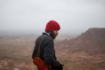 peak, rock, rock formation, red rock, outdoors, man, hiker, wool cap