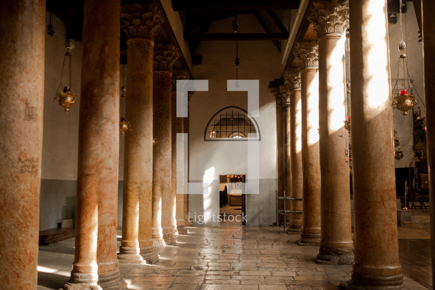 marble columns inside a church in Israel