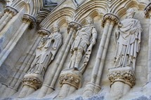 stone sculptures on a cathedral