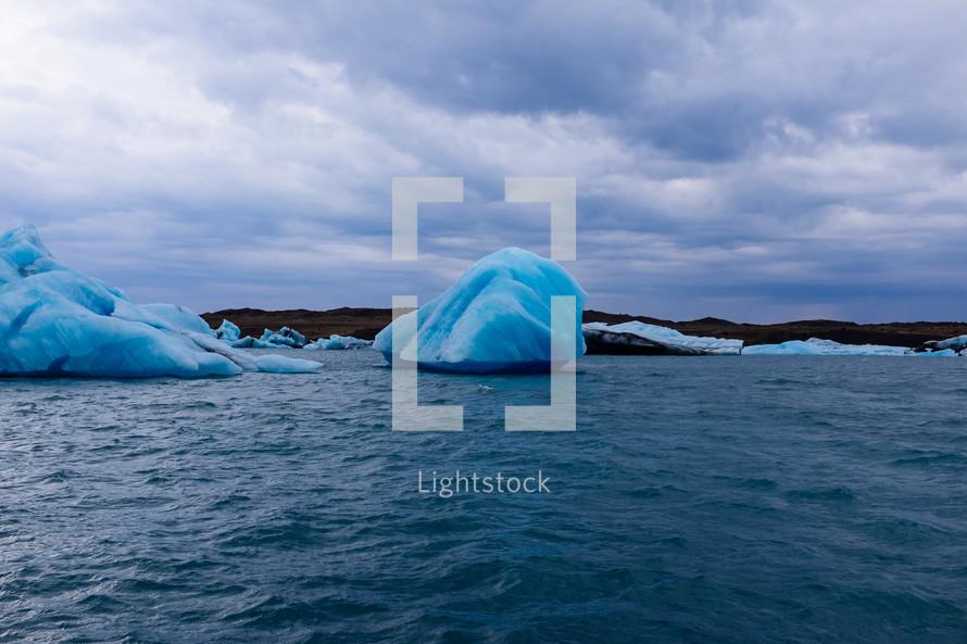 icebergs and ocean water