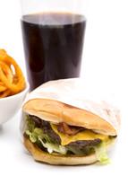 hamburger, soda, and fries