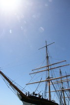 A sailing ship with bare masts.