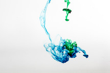 blue and green dye in water