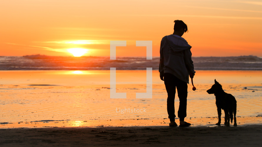 a man with her dog on a beach