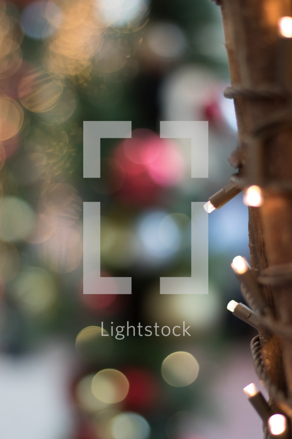 bokeh lights on a Christmas tree