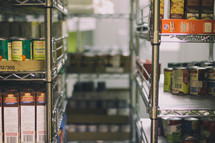 food on shelves at a food bank