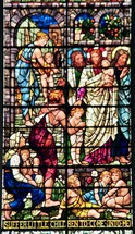 children with Jesus stained glass window