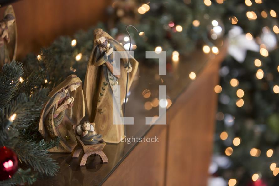 Nativity scene with bokeh background.