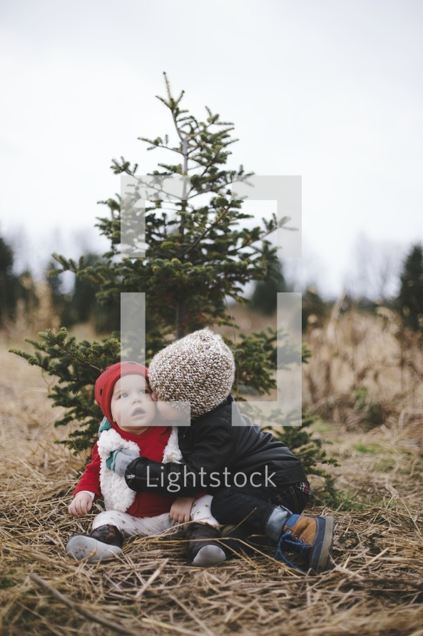 brothers hugging in a Christmas tree lot