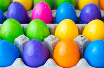 plastic Easter eggs in cartons