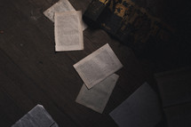 torn books and pages on the floor
