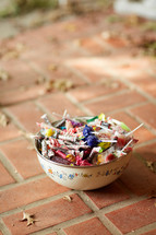 a bowl of Halloween candy