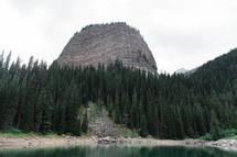 mountain peak and lake