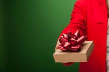 giving a gift box for Christmas