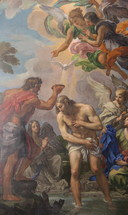 Baptism of Jesus Christ is a typical depiction with the sky opening and the Holy Spirit descending as a dove.