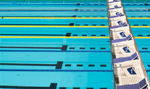 Racing lanes in a swimming pool.